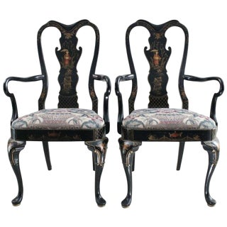 Chinoiserie Queen Anne Style Armchairs - a Pair