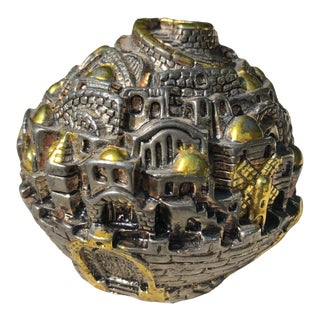 Vintage Surrealist Sterling Silver Israeli Old Town Jerusalem Paperweight For Sale