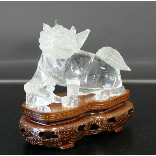 Chinese Rock Crystal Glass Fu Dog Statuette Wood Base Table Sculpture For Sale - Image 4 of 11