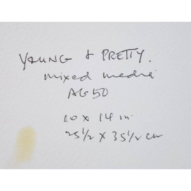 """Original """"Young & Pretty"""" Mixed Media Painting by Martin Loh For Sale - Image 9 of 10"""