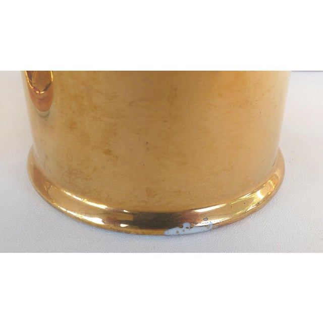 Brass Porcelaine De Paris Gold Lustre Lidded Condiment Jars & Stand For Sale - Image 7 of 8