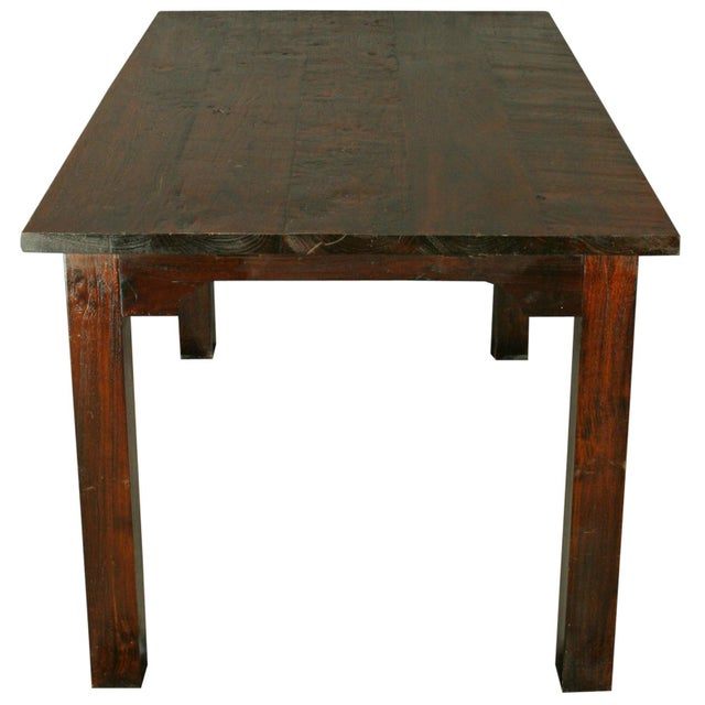 Solid Oak with Teak Country Style Dining Table - Image 7 of 8