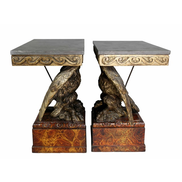 Wood Pair of George II Style Giltwood and Grey Marble Eagle Console Tables For Sale - Image 7 of 10