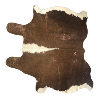 Safavieh Argentinian Brown & White Cowhide Leather Rug - 4″ × 6″ For Sale