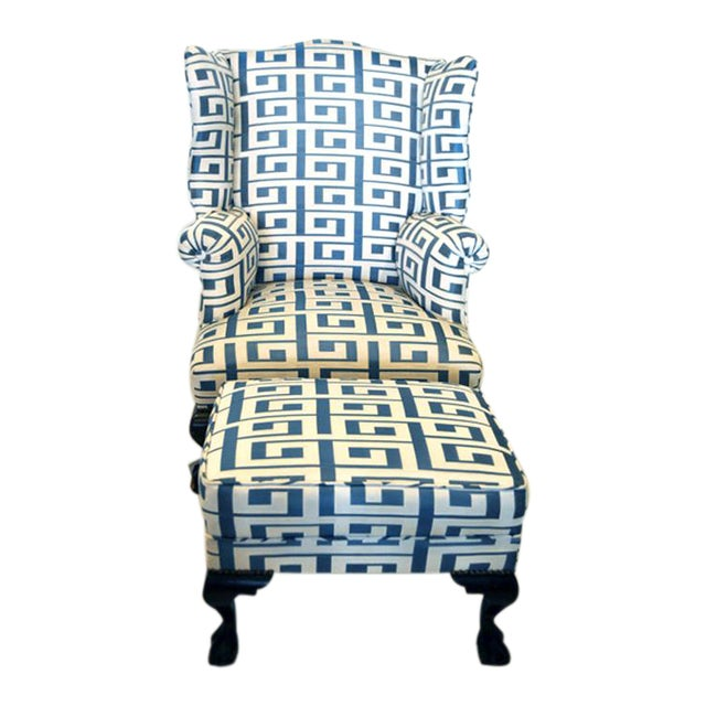Wing Chair and Ottoman For Sale