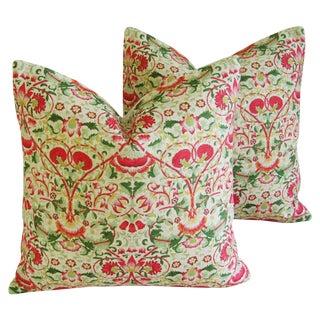 Pink & Green Floral Pillows- A Pair