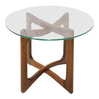 Mid-Century Modern Adrian Pearsall Walnut and Glass End Table For Sale