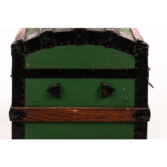 Antique Green Dome Carriage Trunk For Sale - Image 10 of 13