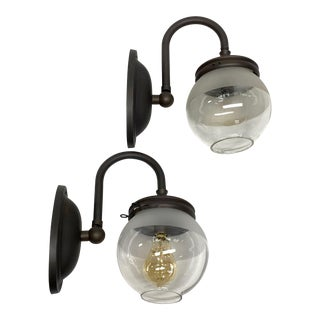Industrial Gas Sconces With Globe Shades - a Pair For Sale