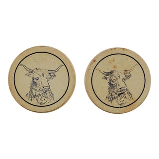 Antique Clay Poker Chips Longhorn Steer - Set of 2 For Sale