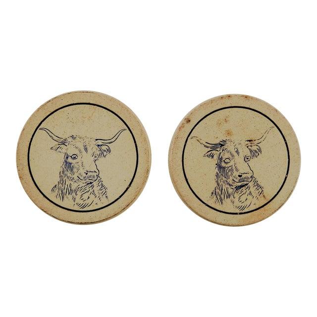 Antique Clay Poker Chips Longhorn Steer - Set of 2 For Sale