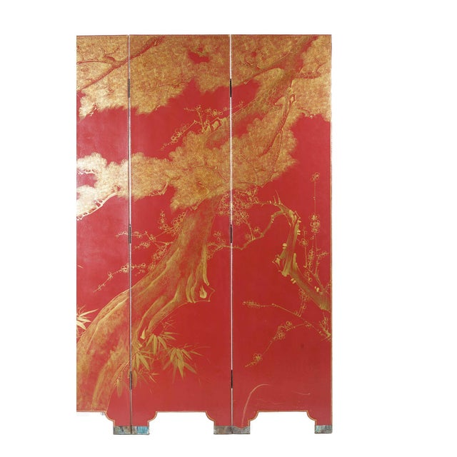 Double-Sided Leather Burgundy Red Wisteria Scene Room Divider Screen by Lawrence & Scott For Sale - Image 10 of 13