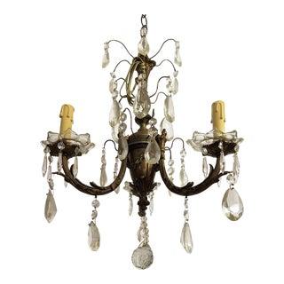 Circa 1910 Empire Style Baroque Bronze & Crystal Chandelier For Sale