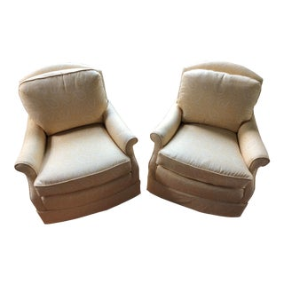 Vintage Drexel Club Chairs in Sister Parish Fabric - a Pair For Sale