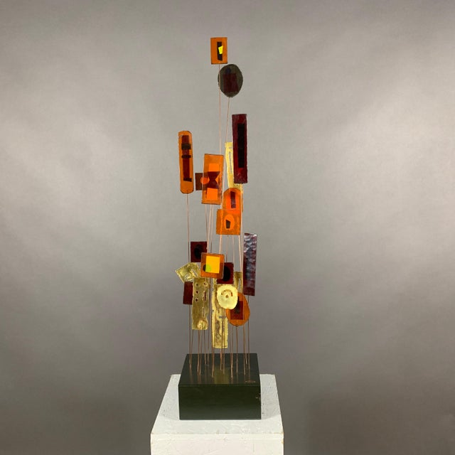 """1950s C. Jere Fused Glass & Metal Kinetic 53"""" Sculpture For Sale - Image 11 of 11"""