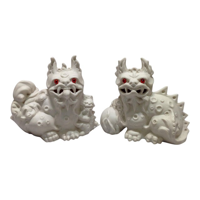 1960s White Porcelain Foo Dogs - A Pair For Sale