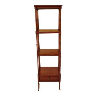 Mahogany Four Tier Etagere Bookshelf With Drawer