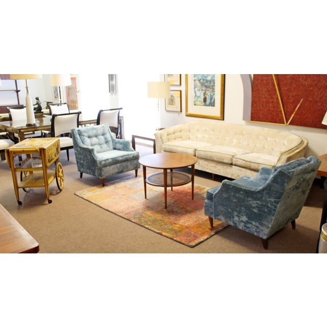 Mid Century Modern Kroehler Suite Crushed Velvet Sofa Chairs Set 1950s - Set of 3 For Sale - Image 9 of 10