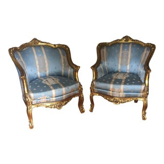 French Gilded Wood Nailhead Trim Chairs - A Pair