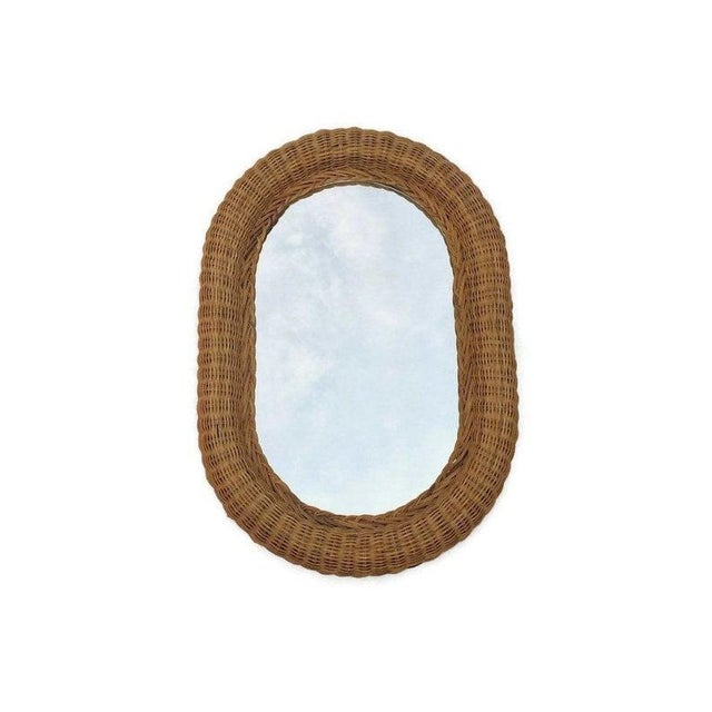 Vintage Natural Wicker Rattan Oblong Wall Mirror For Sale - Image 4 of 10