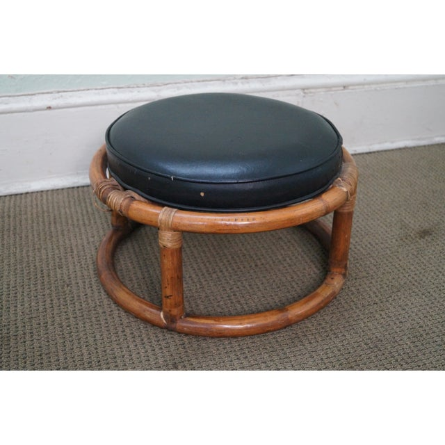 Vintage Round Rattan Bamboo Ottoman Footstool For Sale - Image 10 of 10