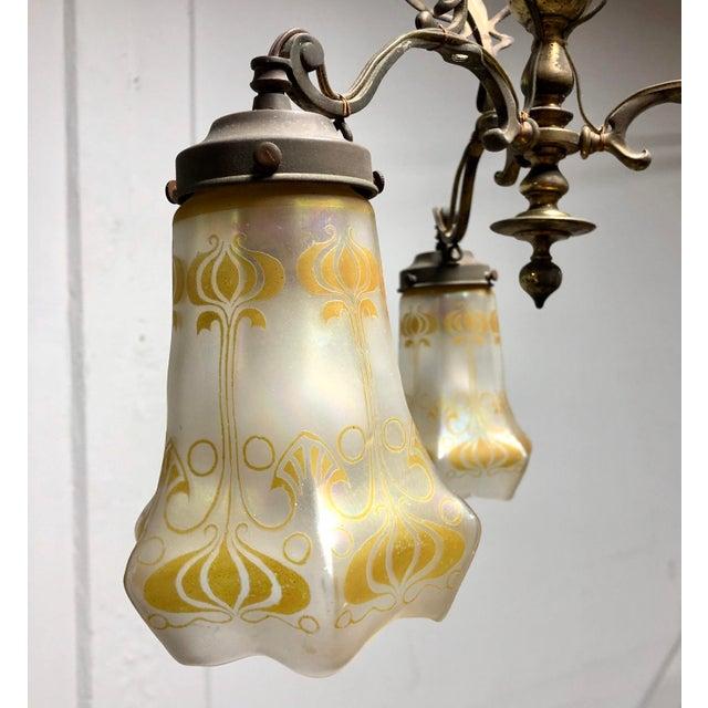 1920s Antique Art Nouveau Brass 3-Shade Chandelier For Sale - Image 5 of 13