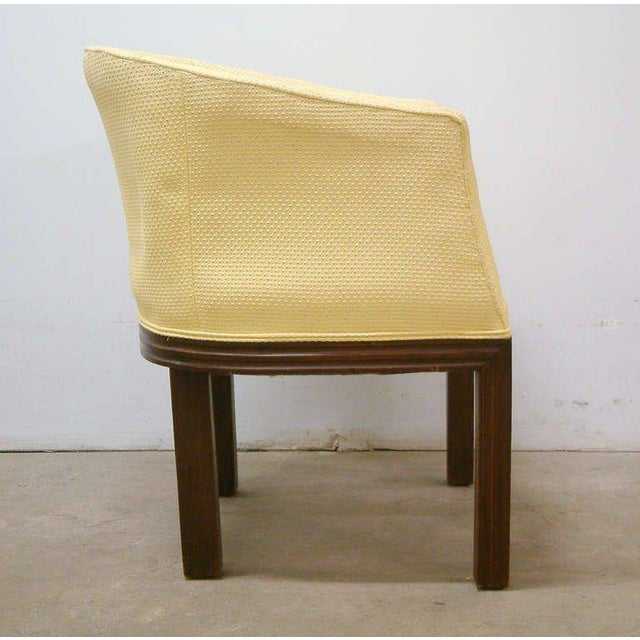1950s Circa 1950 Mid-Century Upholstered Yellow Arm Chairs - Pair For Sale - Image 5 of 11