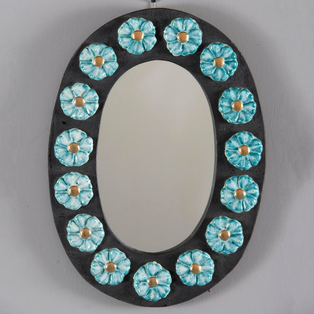 Mid-Century Oval Ceramic Mirror With Flowers For Sale - Image 10 of 10