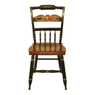1970s Vintage Hitchcock Eagle Stenciled Maple Side Chair For Sale