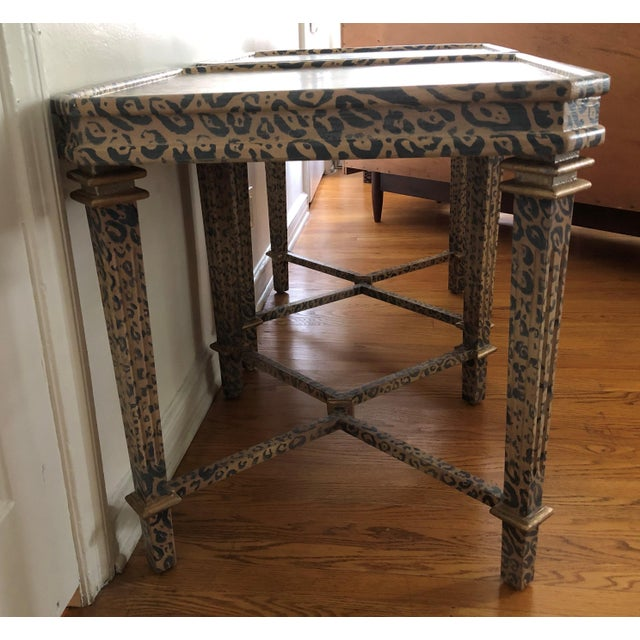 Neoclassical Hand Painted Faux Leopard Side Tables - a Pair For Sale - Image 9 of 10