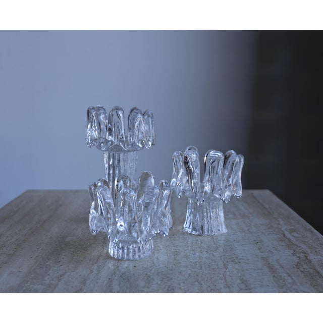Transparent 1970s Goran Wärff for Kosta Boda Sunflower Candle Holders - Set of 3 For Sale - Image 8 of 8