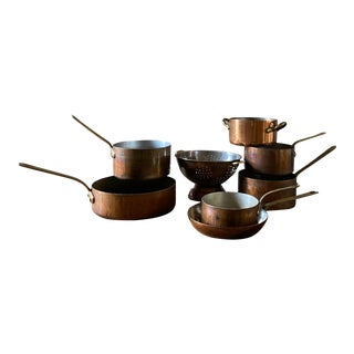 Antique Copper Pots - Set of 8 For Sale