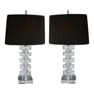 Pair of Mid-Century Lucite Lamps with Custom Shades and Lucite Finials For Sale
