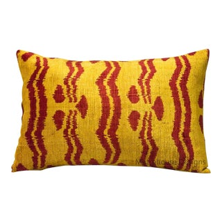Red and Yellow Chintamani Lumbar Pillow For Sale