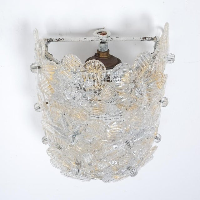 Metal One of Three Barovier Toso Flower Glass Sconces For Sale - Image 7 of 8