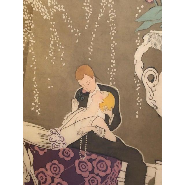 Art Nouveau 1980s Art Nouveau Batik of Lovers, Framed For Sale - Image 3 of 9