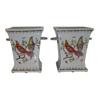 Vintage Porcelain Cachepots With Bird Motif - a Pair For Sale