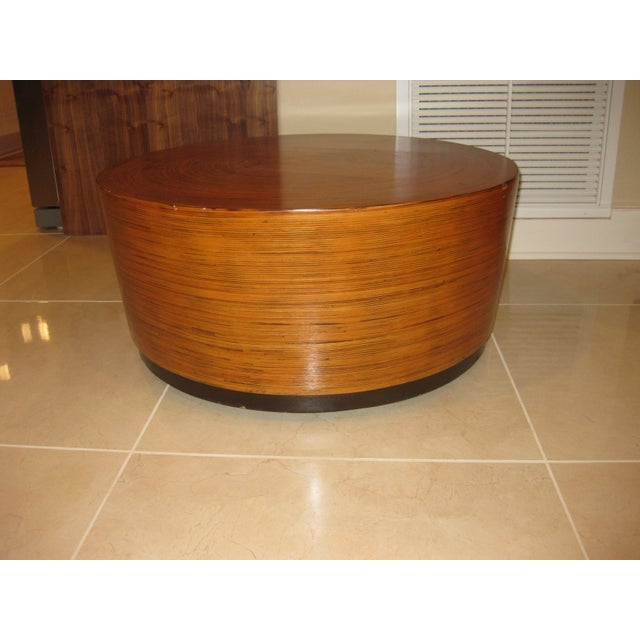 """Mid-Century Modern Round Drum Low Table 30"""" For Sale - Image 4 of 12"""