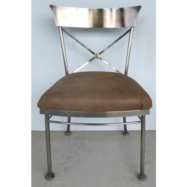 1990s Italianate Steel & Brass Dining Chairs by Design Institute of America (DIA)-Set of 6 For Sale - Image 5 of 12