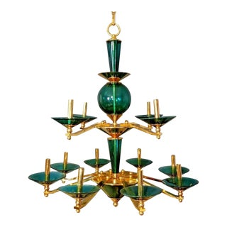 1980s Vintage Green Glass & Brass Chandelier