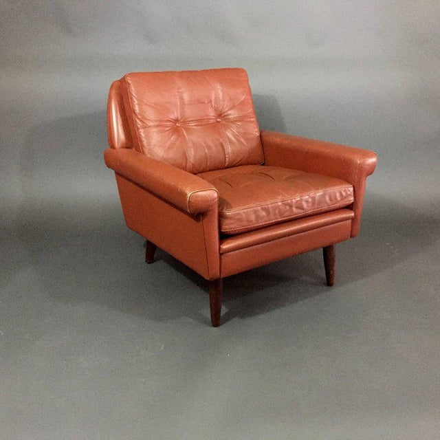 Mid-Century Modern Pair 1960s of Danish Leather Lounge Chairs For Sale - Image 3 of 8