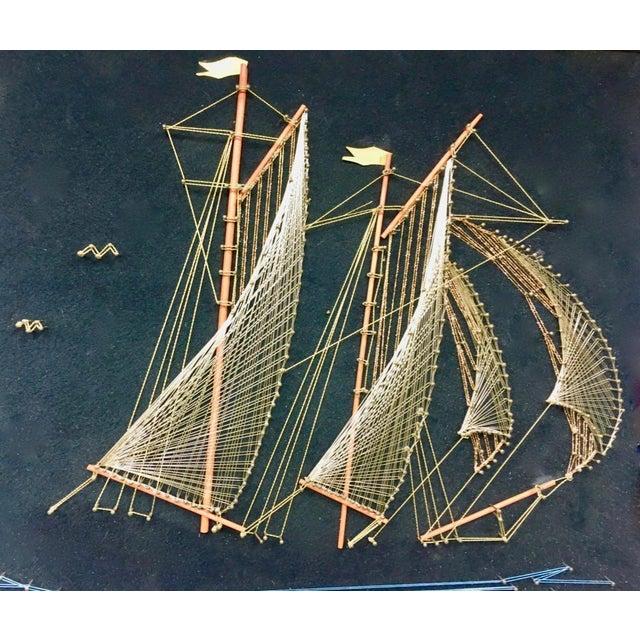 1970s Vintage Framed Sailing Ship String Art For Sale - Image 4 of 5