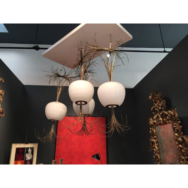 2010s Roberto Giulio Rida a Unique and Original Sculptural Opaline Glass and Brass Ceiling Light Fixture For Sale - Image 5 of 6