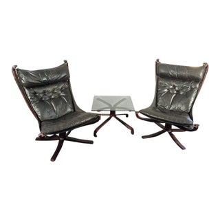 Vintage Sigurd Resell for Vatne Mobler Leather Falcon Sling Chairs With Matching Table - Set of 3 For Sale