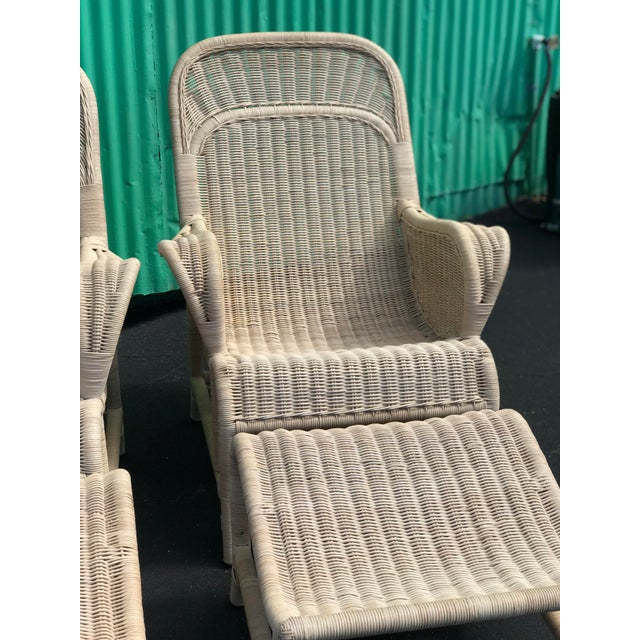 Vintage Coastal Wicker Sling Back Chairs and Ottomans-A Pair For Sale - Image 10 of 13