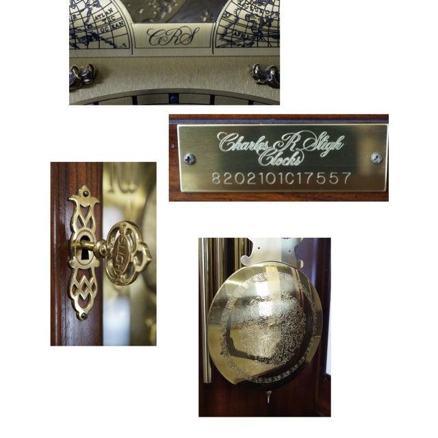 Charles Sligh Mahogany Inlaid 9 Tube Grandfather Clock For Sale - Image 9 of 10