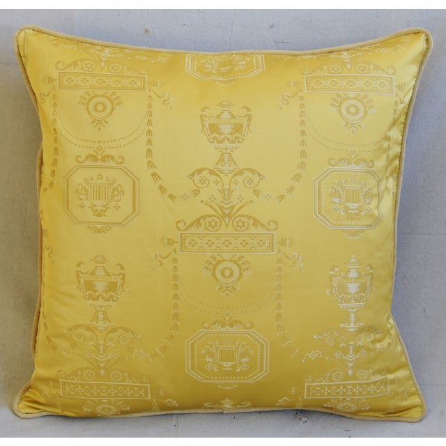 """Abstract Designer Italian Golden Silk Lampas Feather/Down Pillows 24"""" Square - Pair For Sale - Image 3 of 12"""