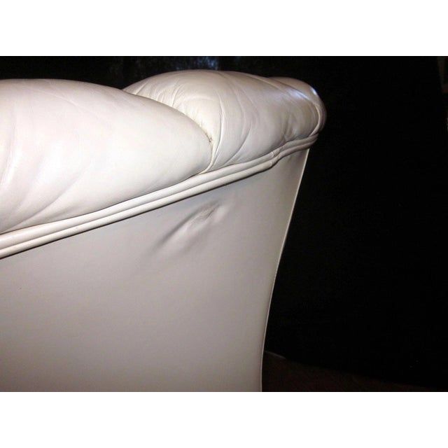 White 1930s Vintage French Art Deco Scalloped Back Clamshell Leather Lounge Chair- a Pair For Sale - Image 8 of 11