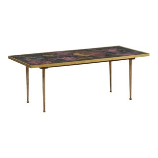 Reverse Painted Purple, Maroon and Pink Italian Glass and Brass Coffee Table For Sale