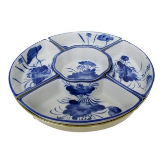 Porcelain & Brass Condiments Dish For Sale